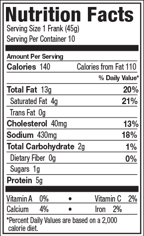 Franks Hot Dogs Nutrition Facts
