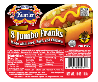 Jumbo Meat Franks packaging
