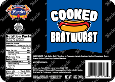 cooked bratwurst packaging