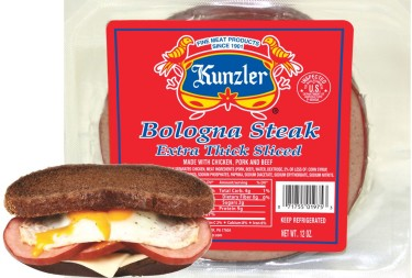 Kunzler bologna steak extra thick sliced in package