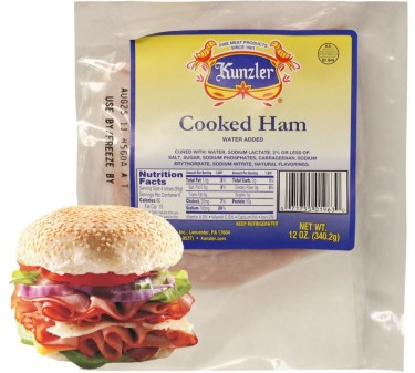 Kunzler cooked ham in package