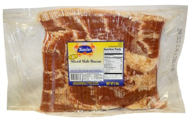 slab of sliced bacon