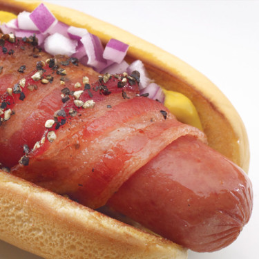 PEPPERED BACON WRAPPED HOT DOGS