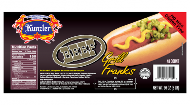 Kunzler Beef Franks Nutrition Facts