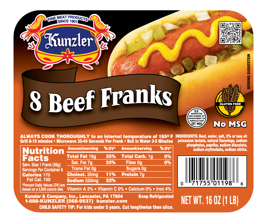 Beef Franks Kunzler