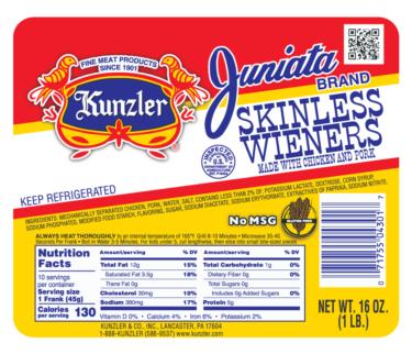 Kunlzer Juniata Skinless Wieners Packaging