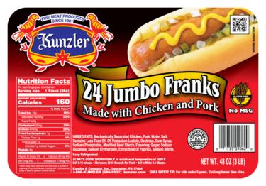 Kunzler 24 Jumbo Franks Packaging