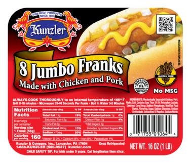 Kunzler Meats 8 Jumbo Franks Packaging