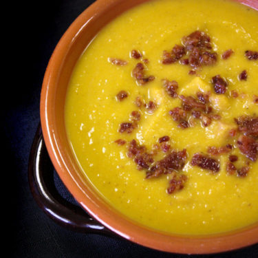 Butternut Squash Soup Garnished with Bacon